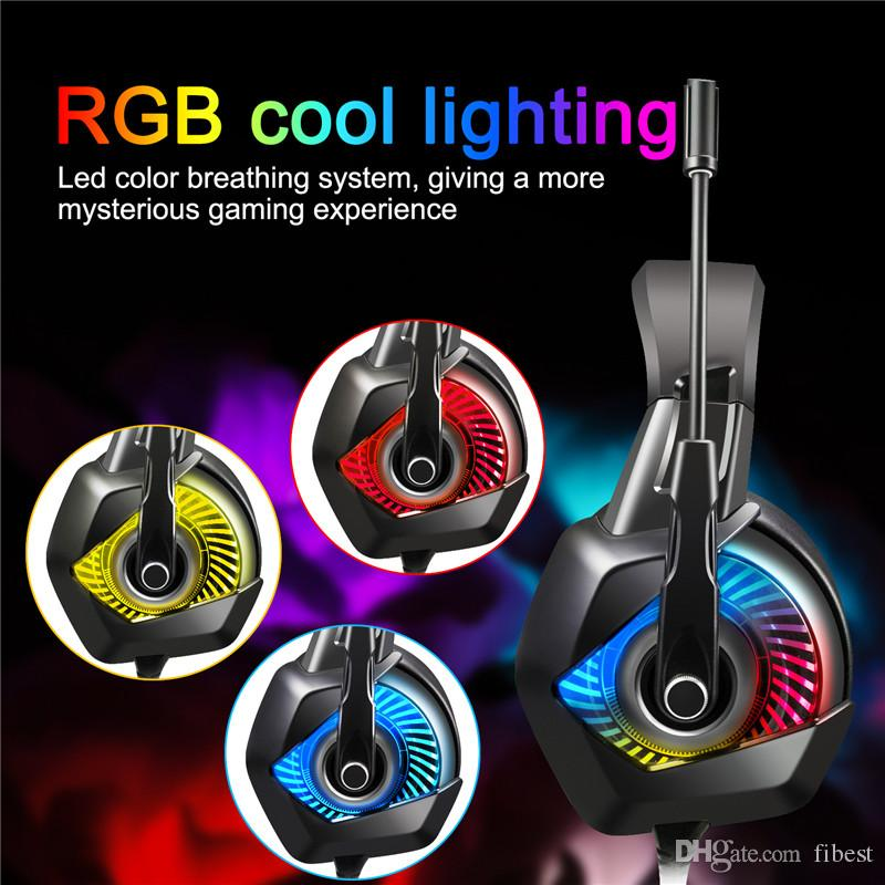 K6 Gaming Headset Stereo Headphones with Mic RGB LED Light Noise Cancelling 3.5mm Wired Earphones For New Xbox One PC PS4 Gamer