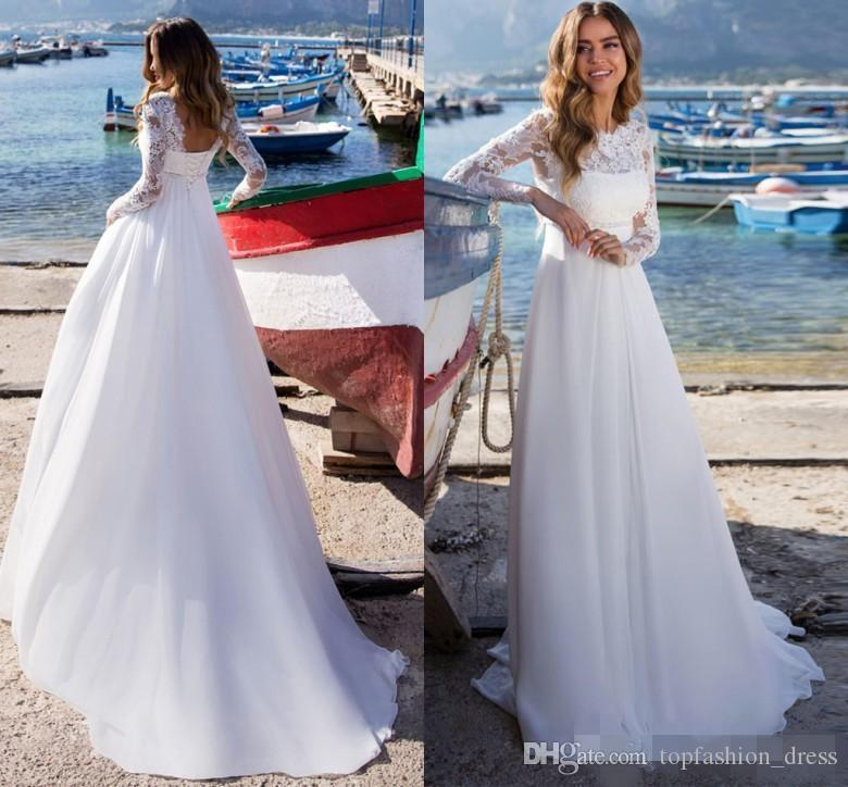36dd34fda5 Discount 2019 Simple Beach Wedding Dresses A Line Sweep Train Corset Back  Lace Applique Long Sleeves Bohemian Wedding Bridal Gown Custom Made Wedding  ...