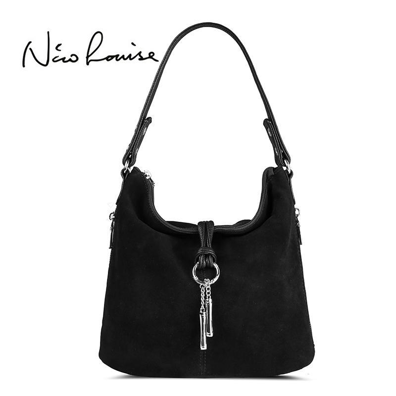 3bd6a5760787 2018 Fashion Women Split Leather Shoulder Bag Female Suede Casual Crossbody  Handbag Casual Lady Messenger Hobo Top Handle Bags Y190124 Purses For Sale  ...