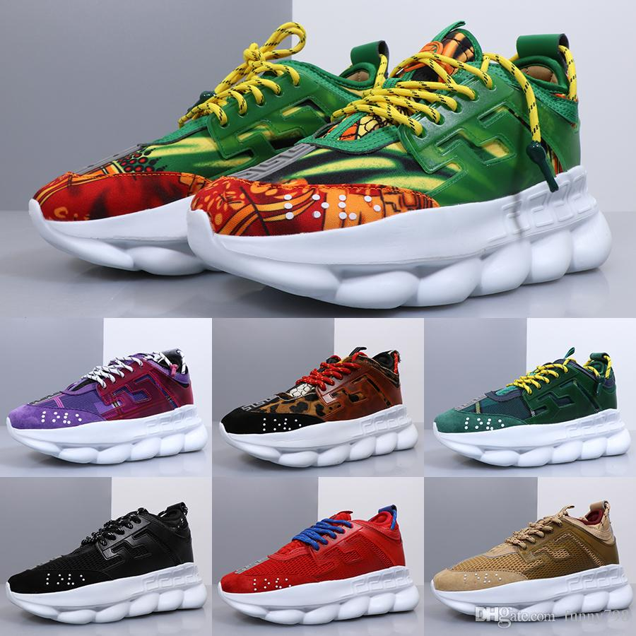 VERSACE CHAIN REACTION Con Dust Bag 2019 Nuova Catena Reaction Shoes  Link-Embossed Sole Luxury Fashion Casual Designer Uomo Donna Fahion da  corsa ...