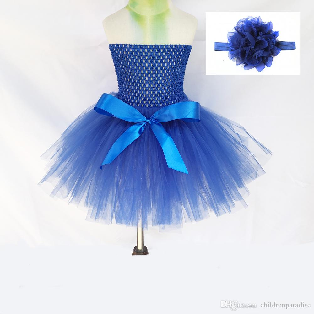 Baby Girls Fluffy Nylon Tulle TUTU DRESS SKIRT With Crochet Tutu Top and Flower Headband For Party Costume Birthdays Photo