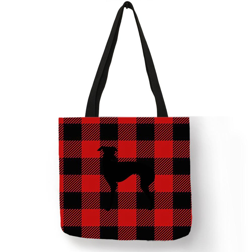 Exclusive Greyhound Silhouette Print Shoulder Bag Plaid Pattern Handbags Large Capacity Shopping Storage Totes For Women