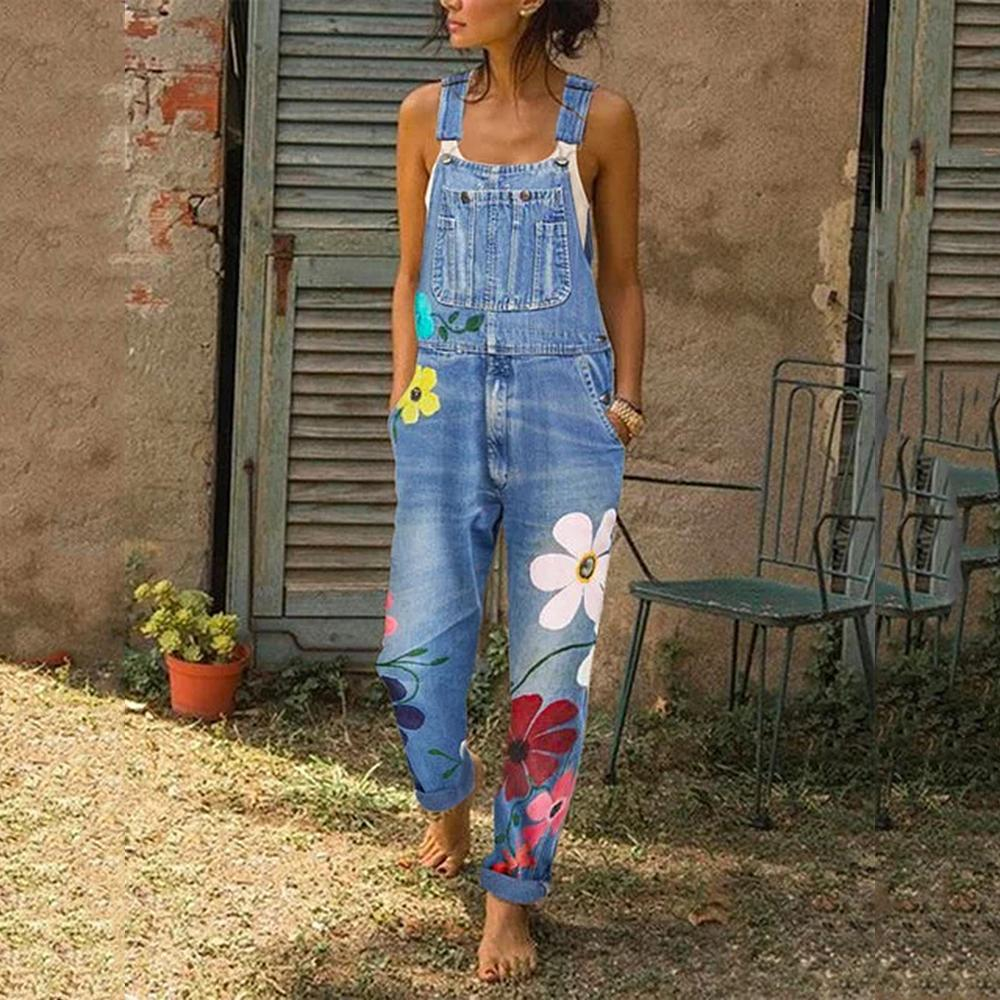 Puimentiua Frauen-Overall Sleeveless beiläufige Polyester-Denim-Overalls lose Jeans Lange Playsuit Overall-Hosen-Hose Femme Neu