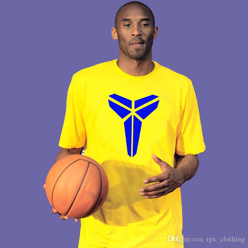 the latest 7e643 ebcfc Kobe Bryant t shirt Classic star emblem short sleeve gown Cool basketball  tees Unisex clothing White black yellow blue Tshirt