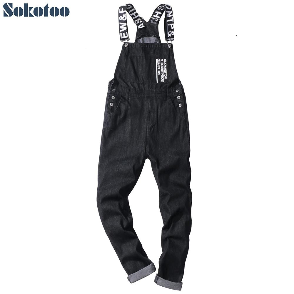 Sokotoo Men's slogan letters printed black denim bib overalls Fashion slim fit jumpsuits Plus size jeans pants SH190907