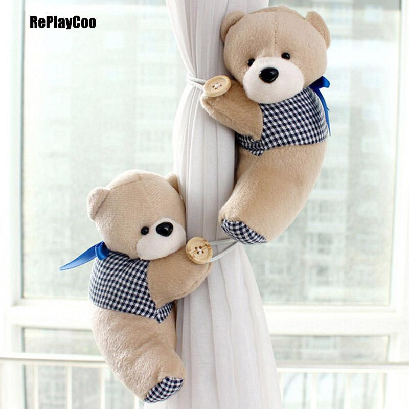 2Pcs /Lot Cute Teddy Bear Curtains Buckle Plush Toys For Children Baby Plush Toys Kawaii Bears Plush Teddy -Bear Ted Stuffed