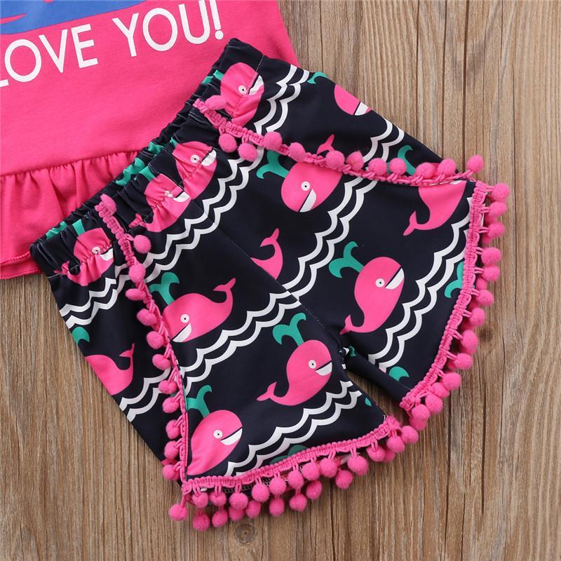 Casual linda de los niños de los bebés de manga corta rosa roja Imprimir tiburón camiseta superior cortos Conjuntos 2 piezas de ropa de verano 1-5Y