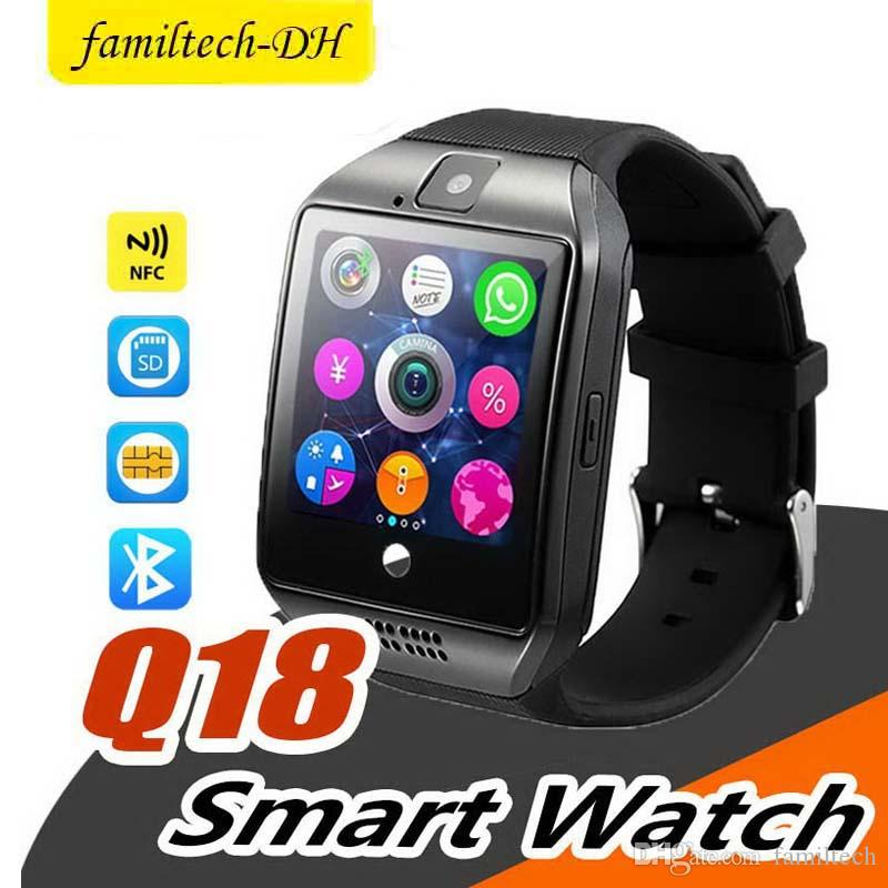 Q18 Smart Watch Bluetooth Wearable Curved Screen High Quality Support NFC SIM GSM Facebook camera For Android IOS Phone Wristwatch SB-Q18