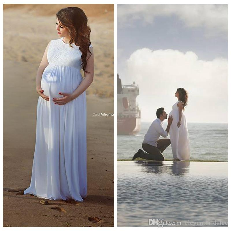 2020 O-Neck Chiffon Maternity A Line Wedding Dresses Lace Top Beach Chiffon White Simple Bridal Dress Plus Size Custom Formal Spring Dubai