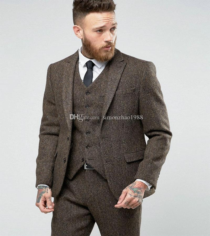 2018 New Custom Made Costume Homme Ternos Slim Fit Winter 3 Piece Men Suits Business Groom Tuxedos Wedding Tweed Suit