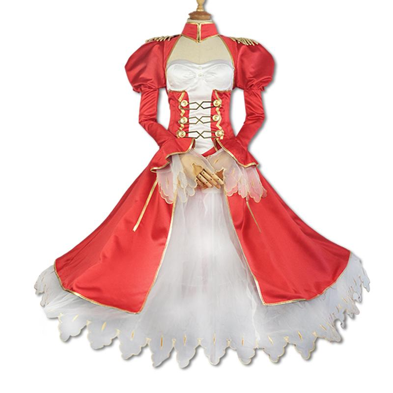 Milky Way Anime Fate Extra Nero Claudius Caesar Augustus Germanicus Cosplay  Costume Long Saber Red Dress Wig Uniform Suit Outfit