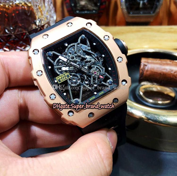 15 Style RM 35-01 RAFAEL NADAL Miyota Automatic Skeleton Dial RM35-02 Mens Watch 316L Steel Rose Gold Case Black Rubber Band Sports Watches