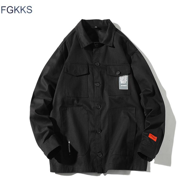 876813c0ff2 FGKKS Fashion Brand Men Jacket Coat 2019 Autumn Male Streetwear Solid Color Jacket  Coat Men'S Hip Hop Pocket Casual Faux Fur Jackets Overcoats For Men From ...