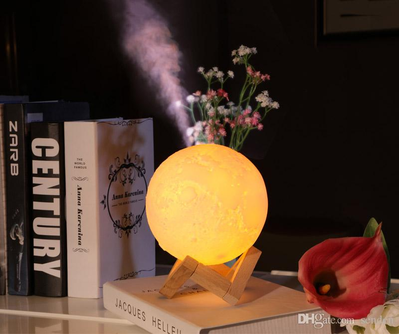 880ML Air Humidifier 3D Moon Lamp light Diffuser Aroma Essential Oil USB Ultrasonic Humidificador Night Cool Mist Purifier with wood stand