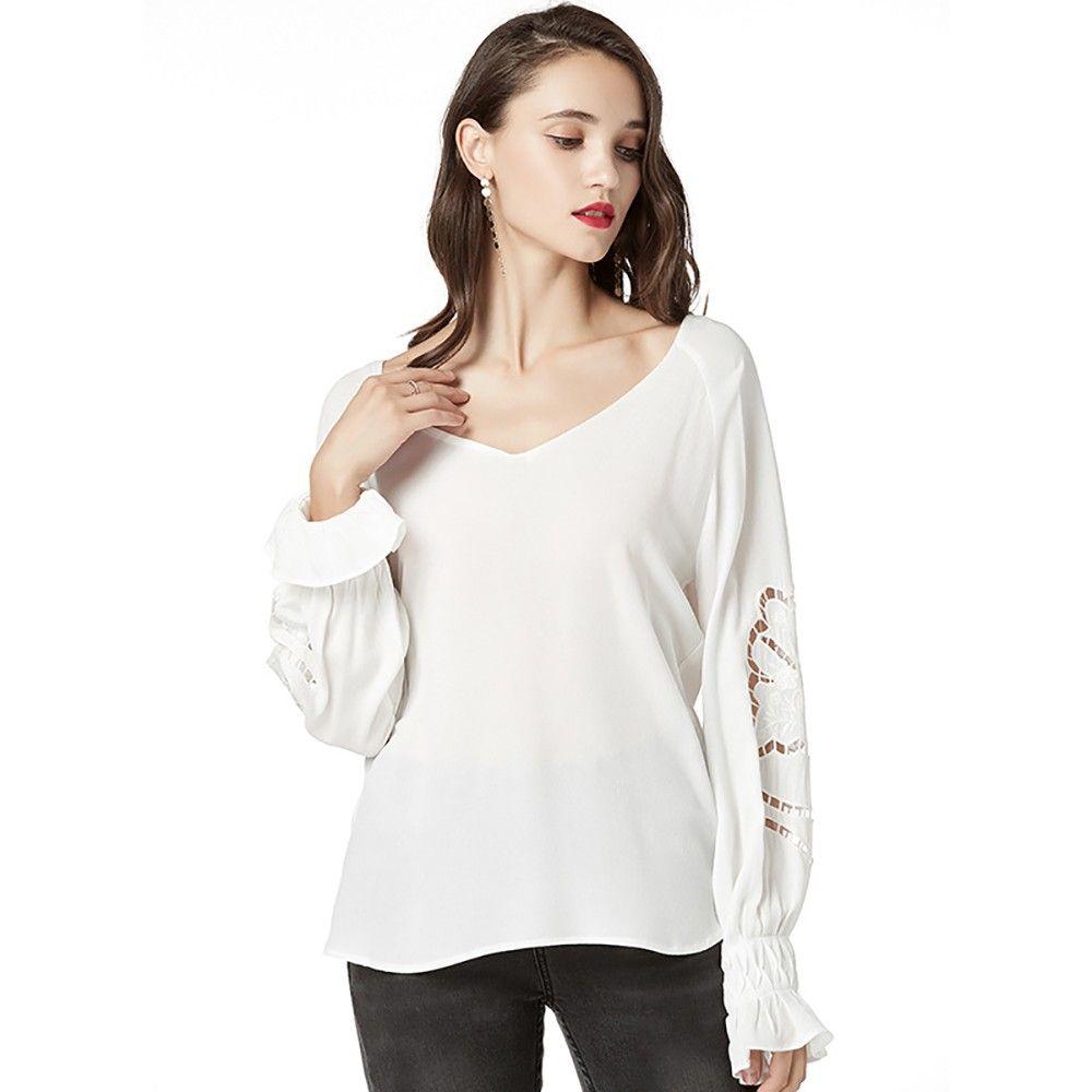 d214efcf4999 Feitong Mujer Tops Blusa Sólido Cuello En V Camisas de manga larga Parte  inferior suelta Jumper Blusas Ropa de Mujer Top Blusas Femininas