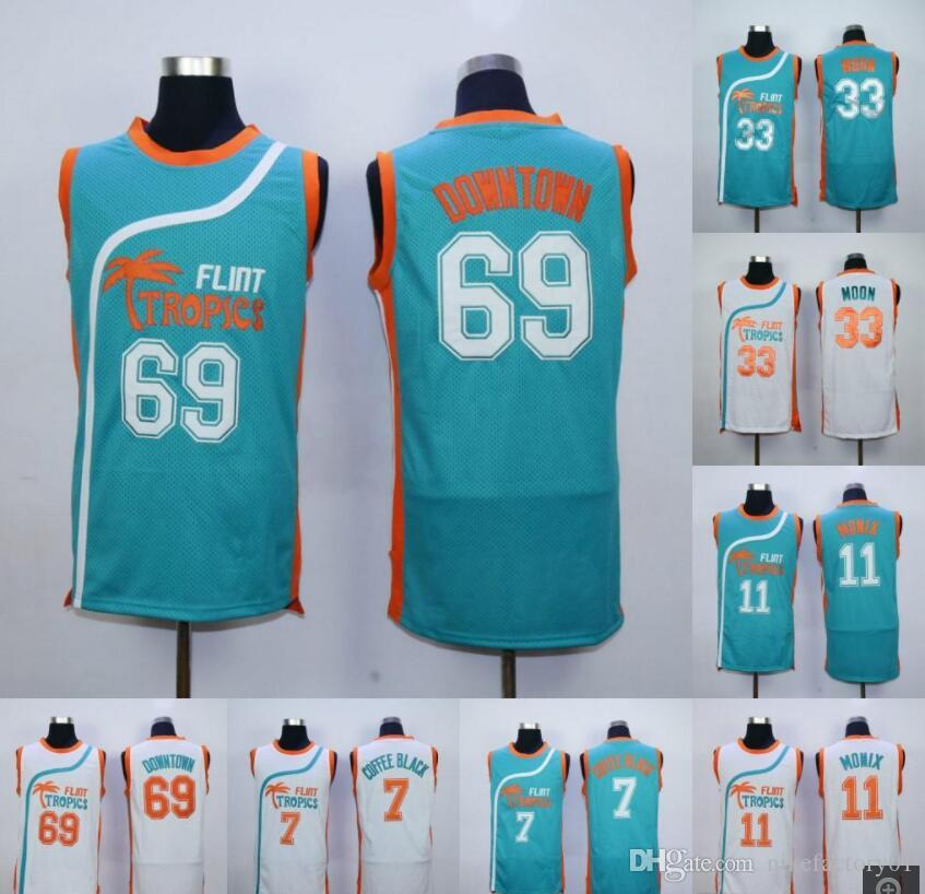 234d1710b4b 2019 Cheap Mens Semi Pro Movie Flint Tropics #7 Coffee Black Jersey  Wholesale #33 Jackie Moon #69 Downtown #11 ED Monix Basketball Jerseys From  ...