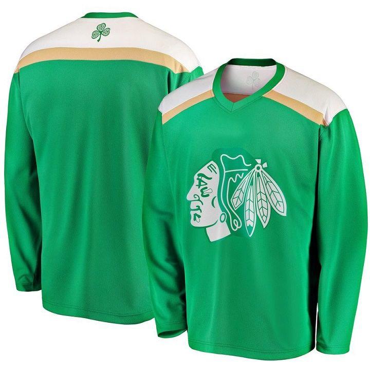 a548ef66bac Green 2019 St. Patrick's Day Jersey 91 Drake Caggiula 24 Dominik Kahun 17  Dylan Strome 19 Jonathan Toews Chicago Blackhawks Hockey Jerseys