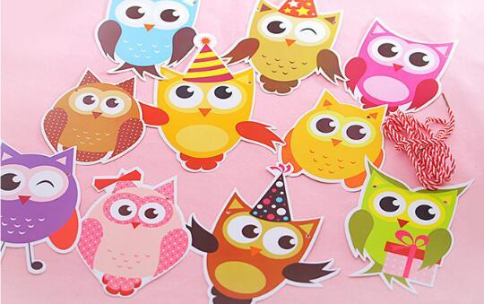 The Owl Garland Kids Birthday Banners Party Decorations Baby Showers Children Room Crafts Cartoon Animal Hanging Supplies GYH