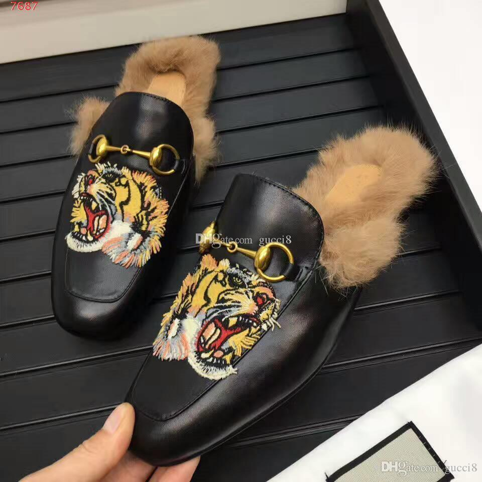 1fc992bf7 2019 Brand Animal Print Tiger Lion Men's Mullers Shoes Horsebit Fur  Slippers Flat heel Slip on Loafers Men Casual Shoe