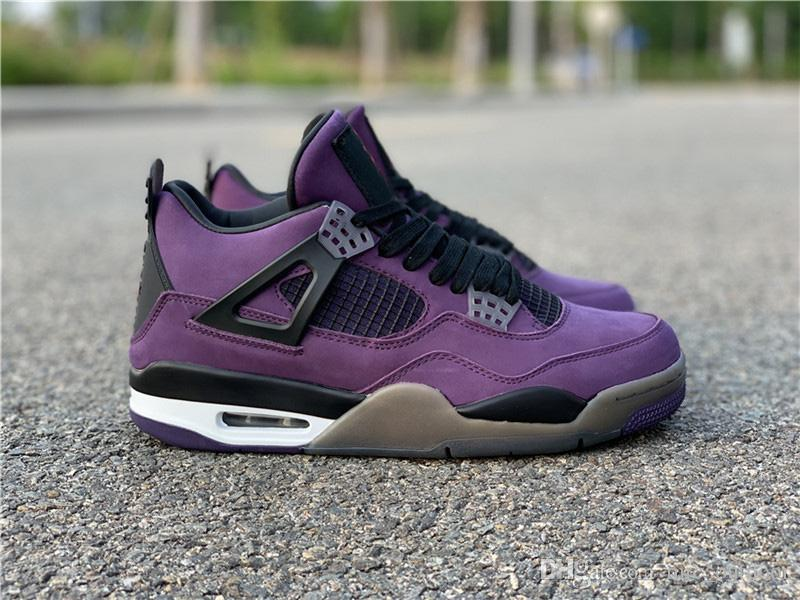 buy popular 85b98 d9c2a Authentic Best Travis Scott x 4s IV Blue Purple Brown Suede Men Basketball  Shoes Sports Sneakers Outdoor Original Family And Friend Limtied