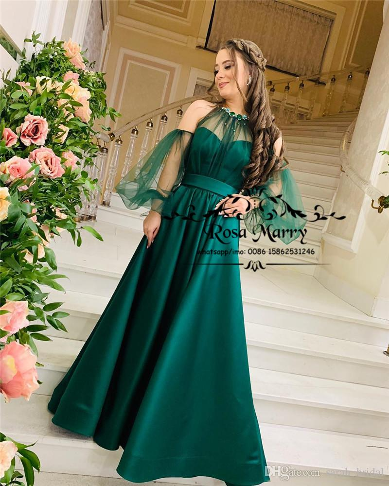 f422bfd453165 Hunter Green Plus Size Arabic Evening Dresses 2019 Illusion Puff Long  Sleeves Long Satin African Formal Celebrity Prom Party Gowns For Women