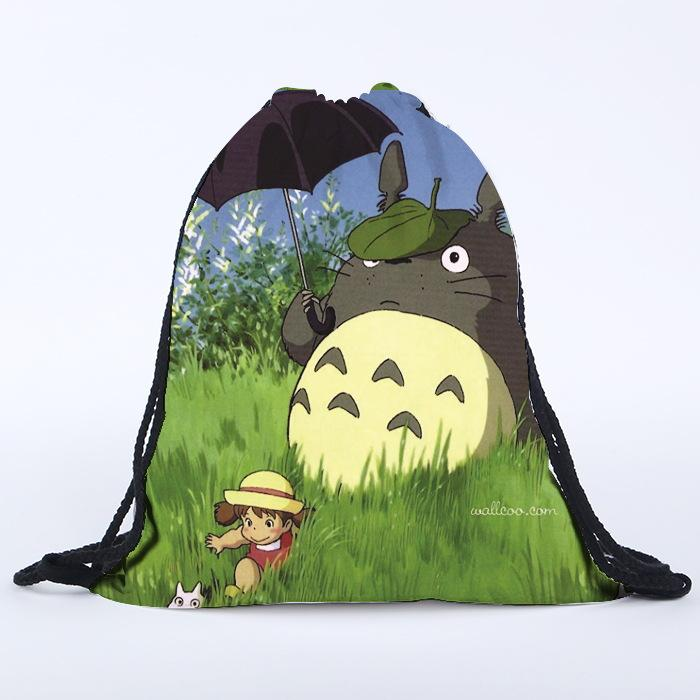 Cartoon Totoro Pattern Shoes Bags Polyester Fabric Travel Shoulders Backpack Drawstring Storage Bags Organizers Bag 39*30cm