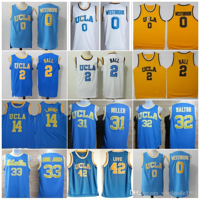 wholesale dealer 256c9 354e1 UCLA Bruins Jersey College Russell Westbrook Lonzo Ball Zach LaVine Abdul  Jabbar Reggie Miller Bill Walton Kevin Love Basketball Jersey