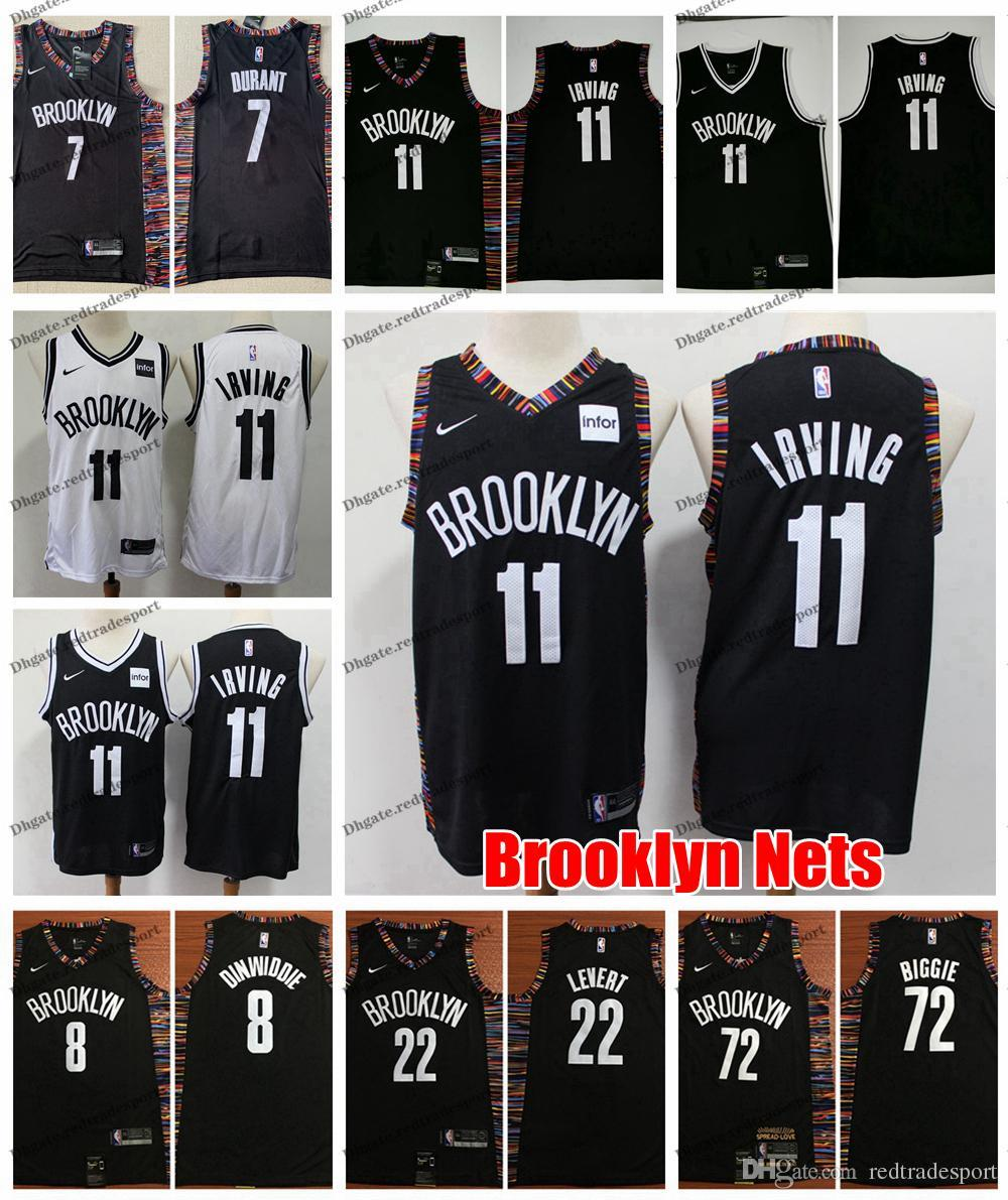 hot sales 91976 46509 2019 Brooklyn Kyrie Irving 11 Nets Kevin Durant 7 City Basketball Jerseys  Caris LeVert 72 Biggie Smalls Spencer Dinwiddie Stitched Shirts
