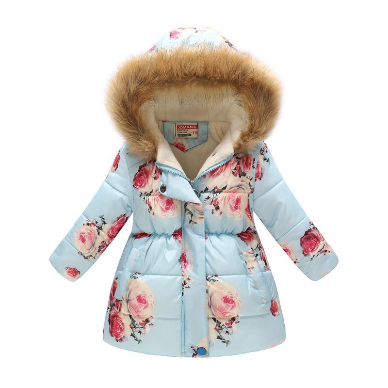 929da1da42ac Winter Girls Hooded Jacket Printed Flowers Zipper Coat For Girls ...