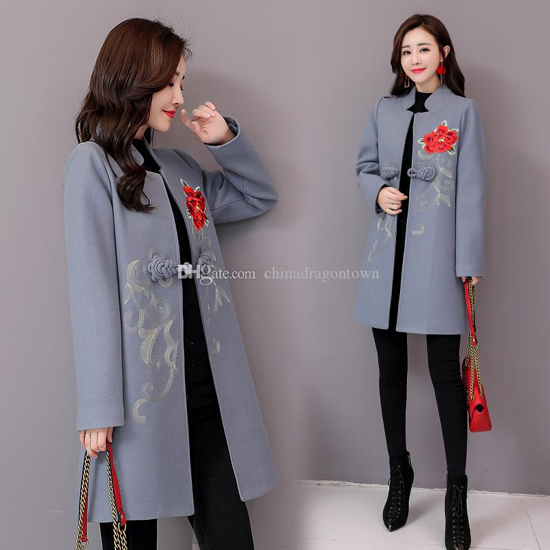 c34082559577 New Arrival Autumn And Winter Wool Coat Flower Embroidery Chinese ...