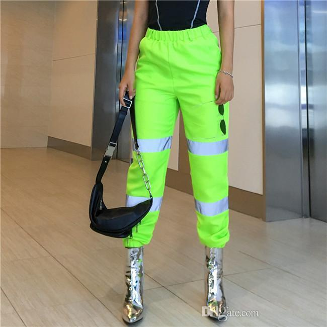 High Waist Long Pants Patchwork Reflective Loose Pants Fashion Trousers Suits