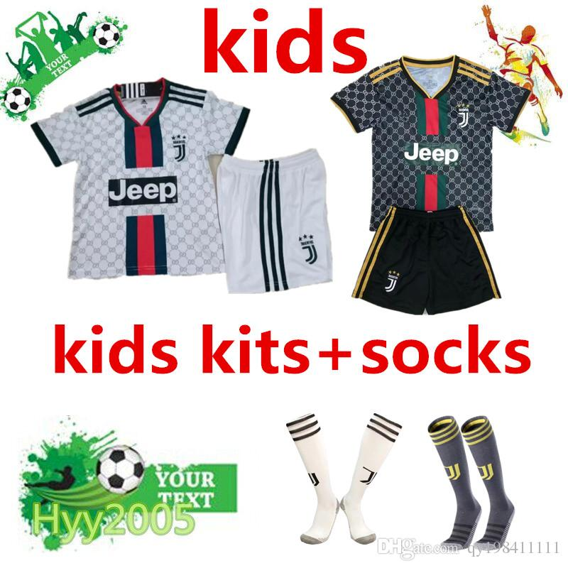 wholesale dealer b1c61 69bc2 Thailand RONALDO kids kit+socks Juventus 2019 2020 JUVE kids soccer jersey  19/20DYBALA child football kit