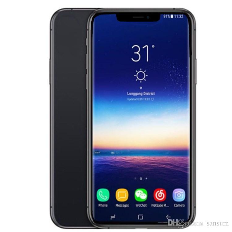 Goophone xs max 6.5inch 1GB RAM 4GB ROM MTK6580 Quad Core 3G WCDMA Fake 4G LTE displayed Dual SIM Card Cell Phones