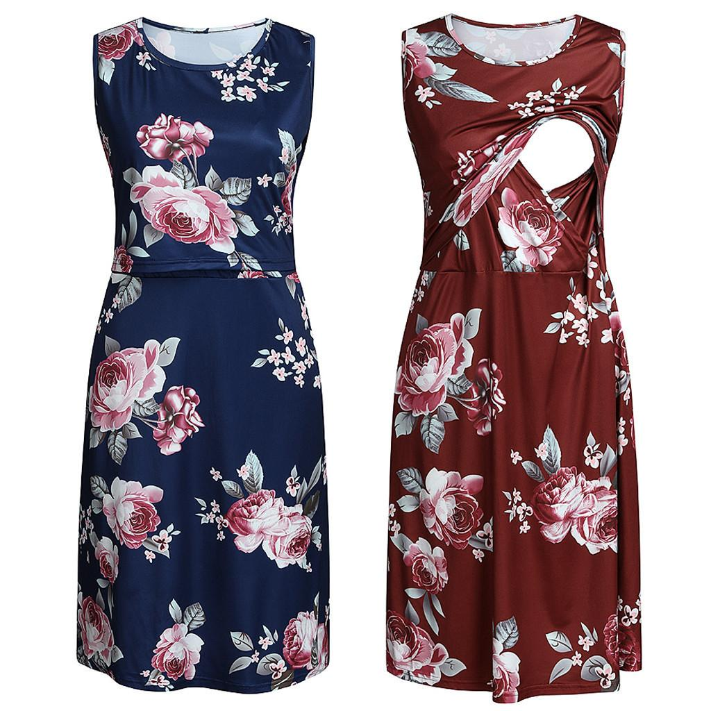 Maternity Breastfeeding Dresses Women's Nursing O-neck Sleeveless Floral Print Dress Props Robe Grossesse Summer Casual Clothing