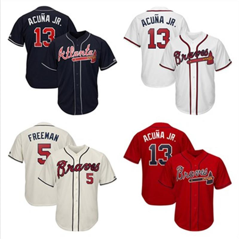 huge discount 4cd4e 42f91 Mens Ronald Acuna Jr. Freddie Freeman Custom Braves Jersey Ozzie Albies  John Smoltz 2019 Player Atlanta Baseball Jersey