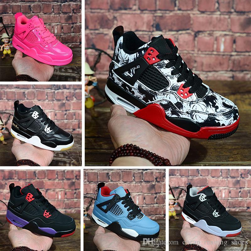 7e1bf922cf4a6 2018 4s OG Black Cat Basketball Shoes Reflect For Kids Boys Girls ...
