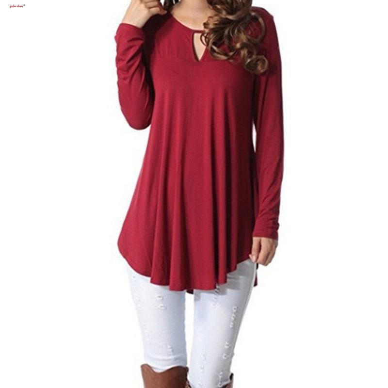 2019 Otoño Camiseta Mujer Manga Completa Empalme Sólido Todo-fósforo Loose Top Camiseta Larga Tamaño Mujer Ropa S-5XL