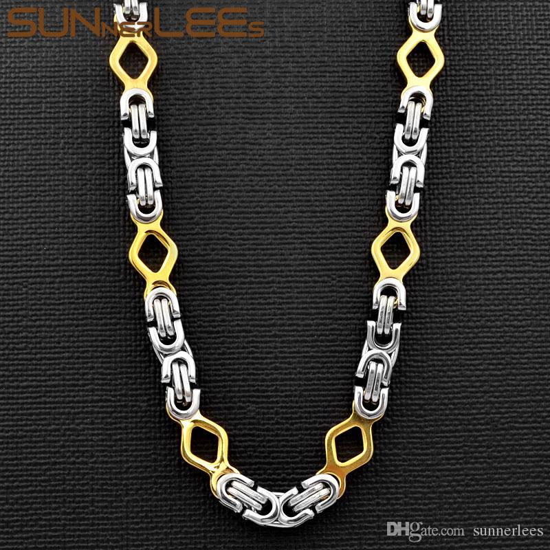 SUNNERLEES Fashion Jewelry Stainless Steel Necklace 6mm Geometric Byzantine Link Chain Silver Gold For Men Women SC112 N