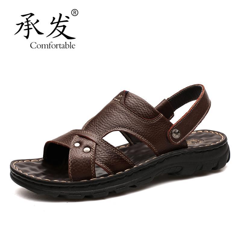 4b908afc1106e High Quality Leisure Beach Leather Sandals Men Summer Sandals ...