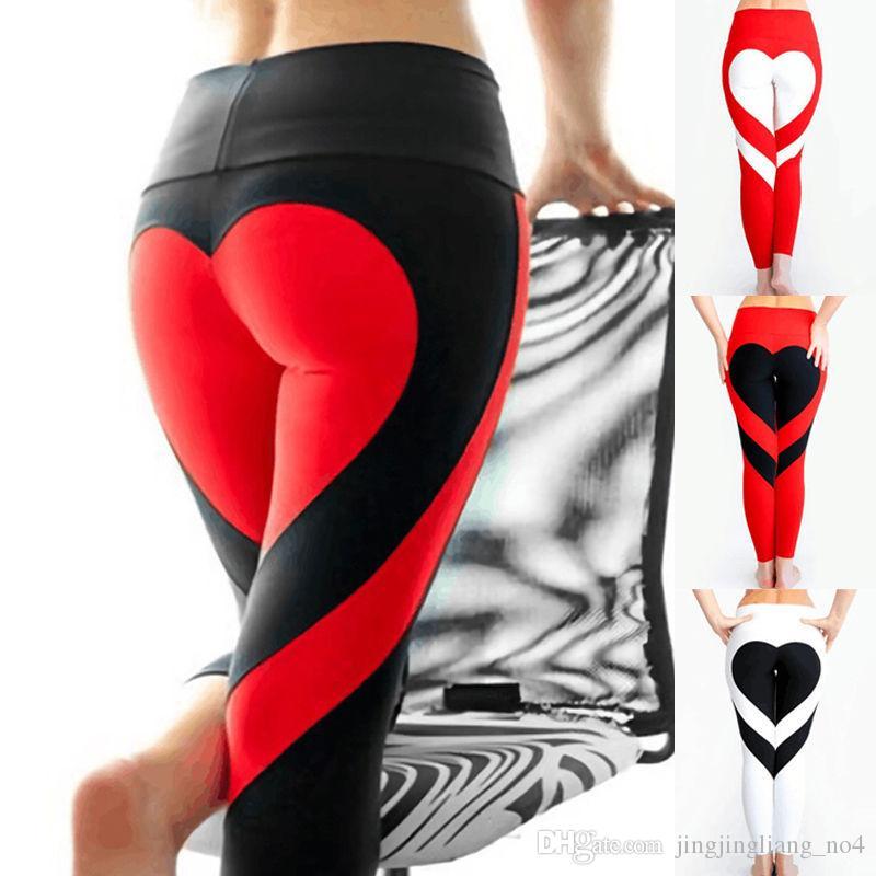 b9677b92822e3 2019 Women Heart Shaped Yoga Leggins Fitness Leggings Skinny High Waist  Elastic Push Up Gym Sport Pants Women Workout Bottoms Pants AAA1619 From ...