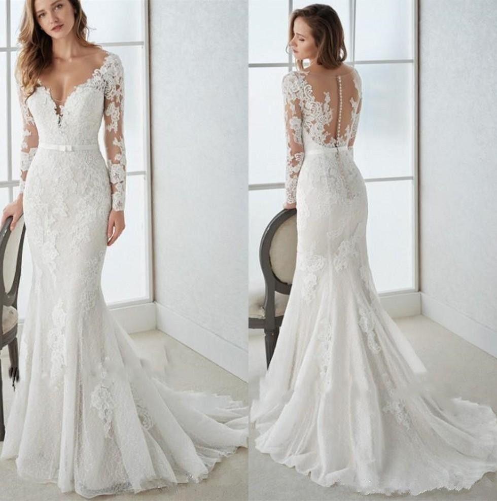 Marvelous Tulle Lace V-neck Neckline Mermaid Wedding