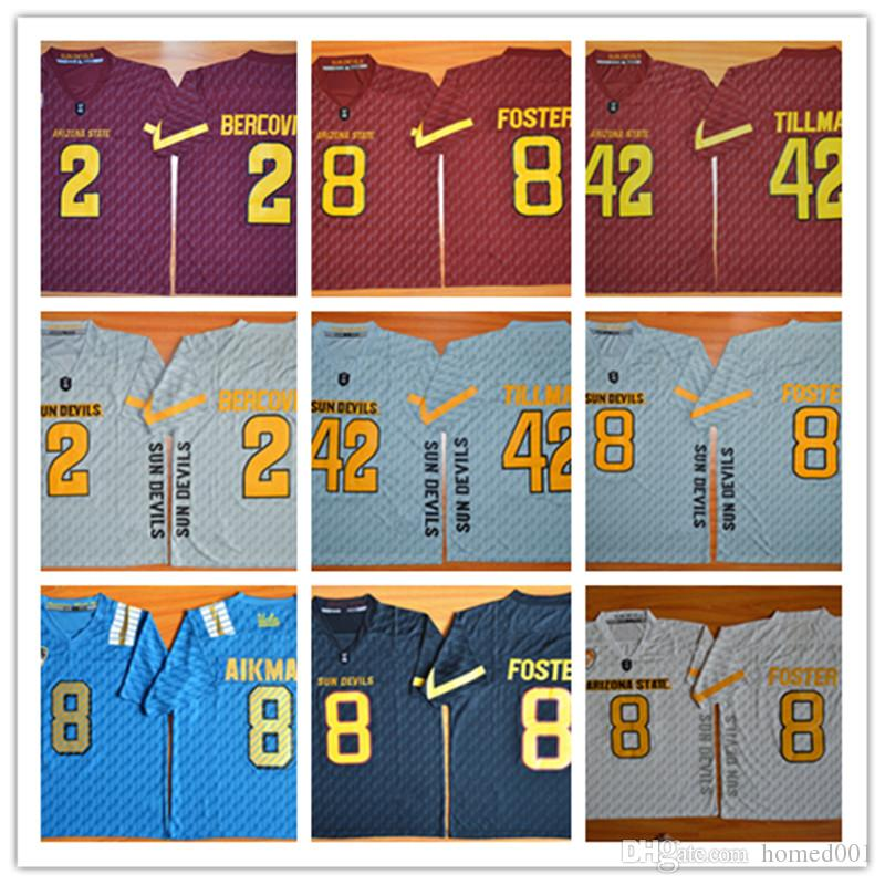 2017 Top Selling Mens jerseys 42 Pat Tillman 2 Mike Bercovici Arizona State Sun Devils College Jerseys 8 DJ Foster Black University Football