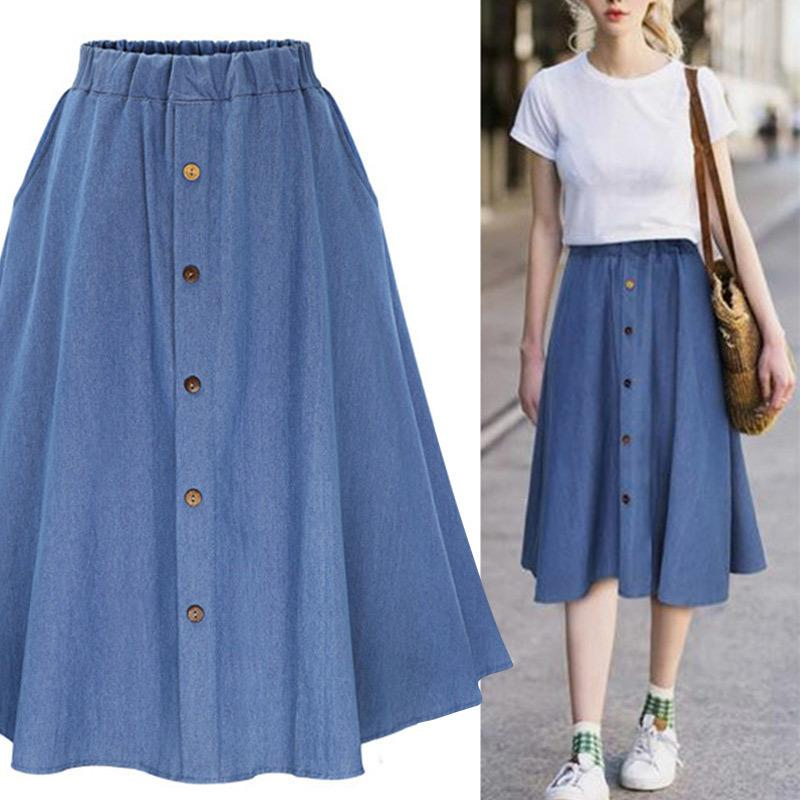 0dfee10c6a9c Denim Jeans A-line Women's Midi Skirt High Waist Button Students Skirts  Women 2019 Spring Summer College Clothes Plus Size Xxxl C19041801