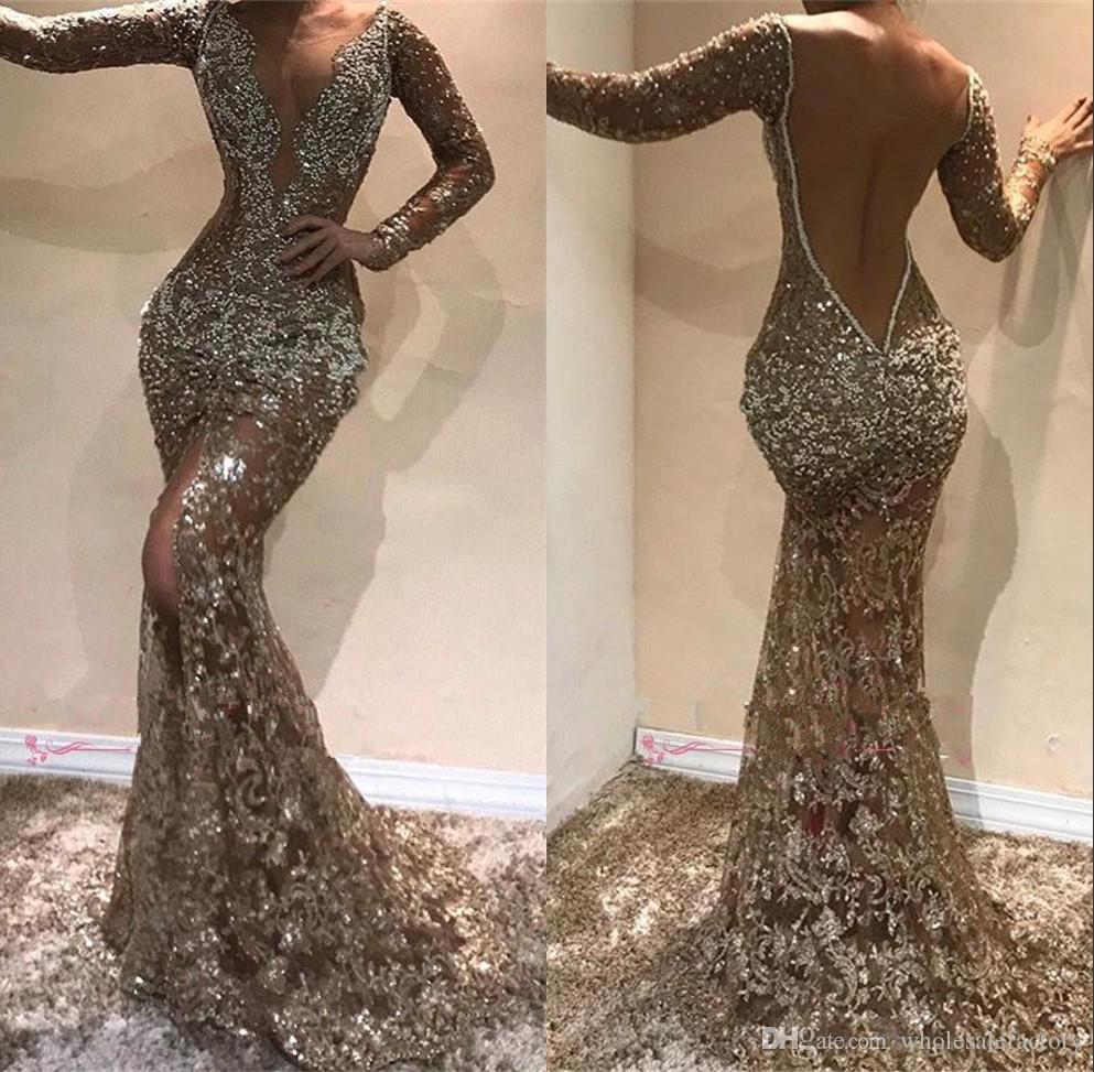2019 Deep V Neck Long Sleeves Sequins Mermaid Long Evening Dresses Beaded Sheer Mesh Top Split Backless Formal Party Prom Dresses BC0975