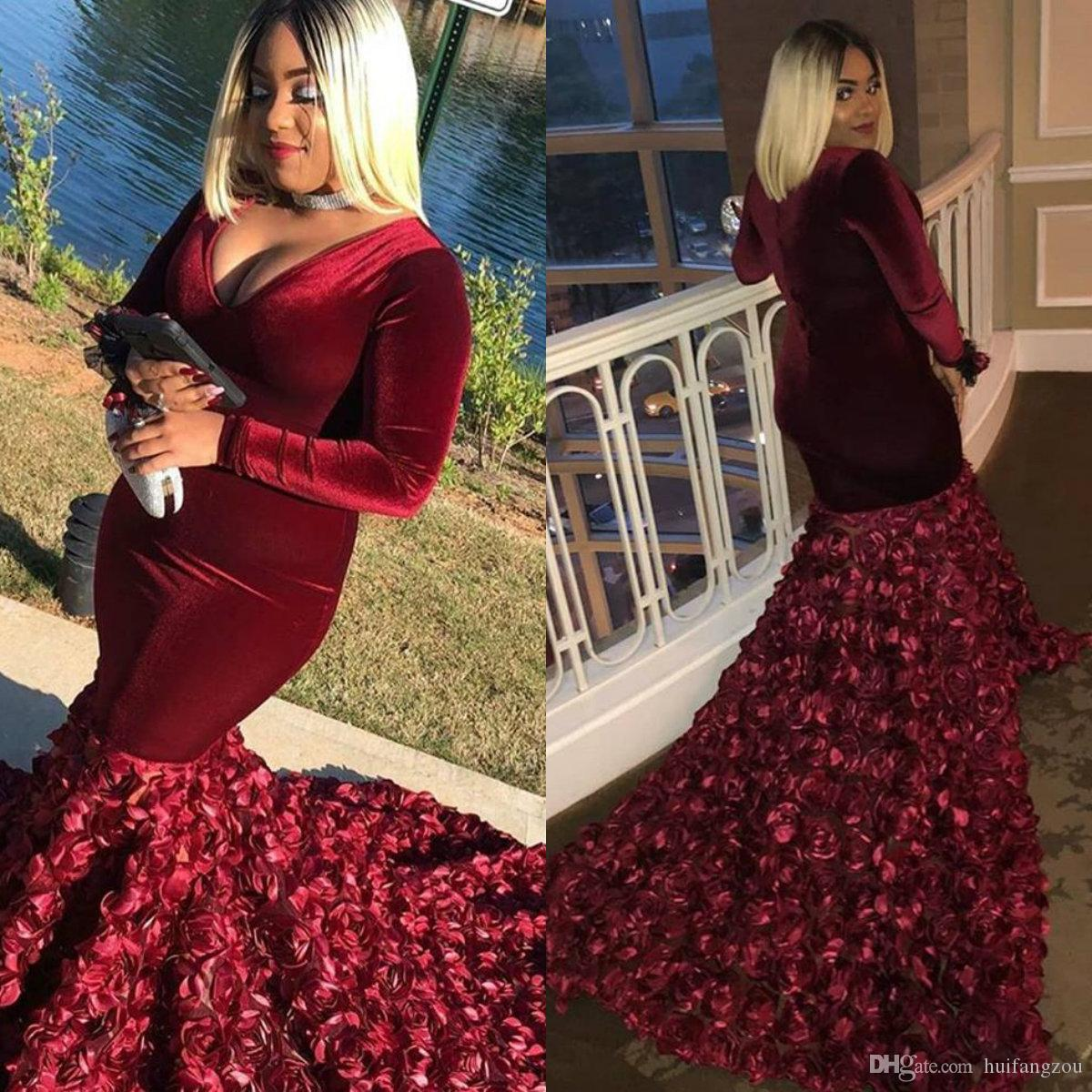 feeea178b9 Velvet Plus Size Prom Dresses Custom Made Long Sleeve Floral Appliques  Sweep Train Red Mermaid Evening Dress African Dubai Party Dresses