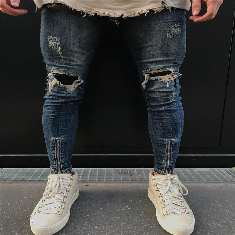 Pop2019 Cross Border For Man Jeans Personality Fold Knee Holes Layered Cloth Bottom Of A Trouser Leg Zipper Bound Feet Men's Trousers Tide