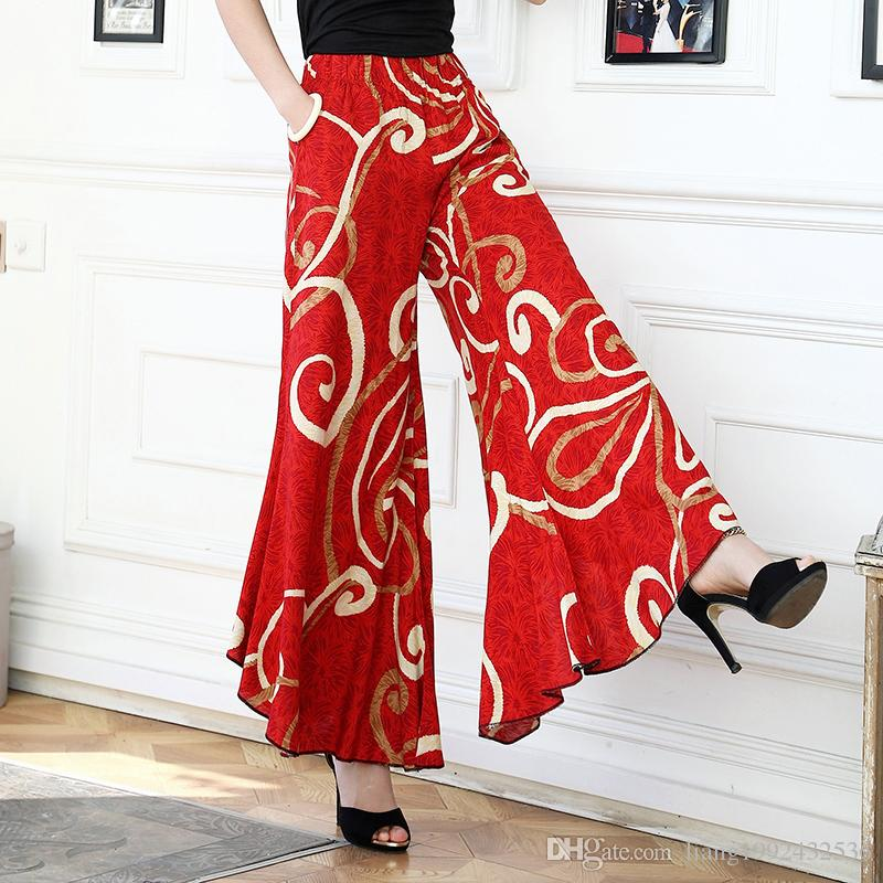Ethnic style middle-aged women's culottes high waist large size flared pants cotton and linen wide leg pants printed trousers dance pants