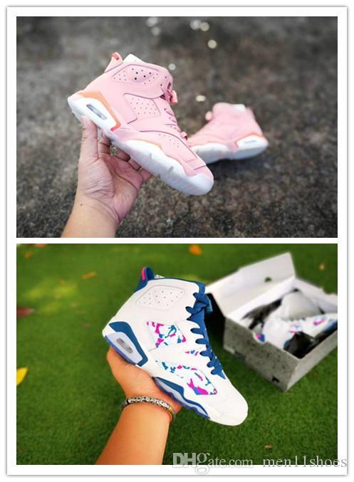 d52a645d639510 Womens 6sGS Green Abyss Basketball Shoes J6 Flight Aleali Pink ...