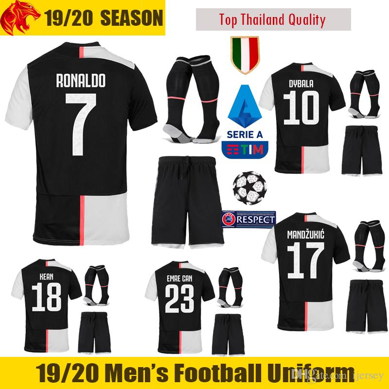 premium selection 67446 3e89e 19 20 Juventus Football Uniforms 2018 2019 DYBALA Juventus RONALDO Soccer  Sets EMRE CAN Juve MANDZUKIC Football Kits Thai Quality