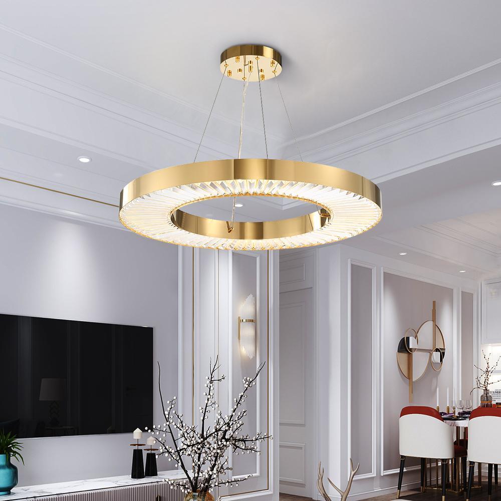 Youlaike Circle Lampadario a LED Illuminazione per soggiorno Oro moderno  Cristallo Lampada Camera d acciaio lucido Anello Lustres De Cristal